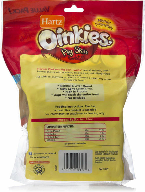 Hartz Oinkies Pig Skin Twists Smoked, 20 Count, 6 Pack