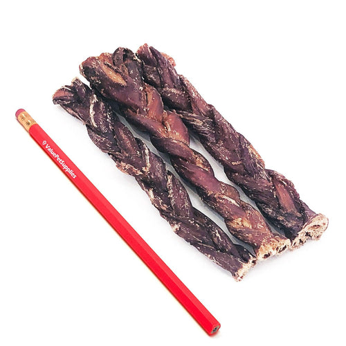 ValueBull Gullet Sticks, Premium Lamb Dog Treats, 6-7 Inch Triple Braid, 25 Count