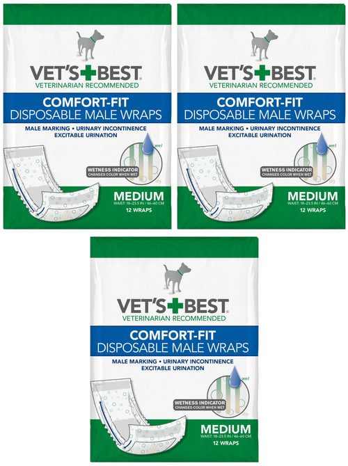 Vet's Best Male Wraps for Dogs, Comfort-Fit Disposable, Medium, 12 Count, 3 Pack