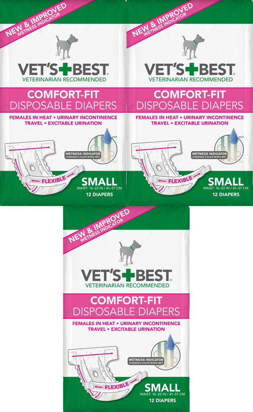 Vet's Best Diapers with Tail-Hole for Female Dogs, Comfort-Fit Disposable, Small, 12 Count, 3 Pack