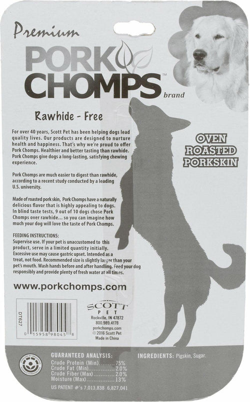 Premium Pork Chomps Roasted Pressed Bone Dog Chew, 4 Inch, 2 Count, 10 Pack