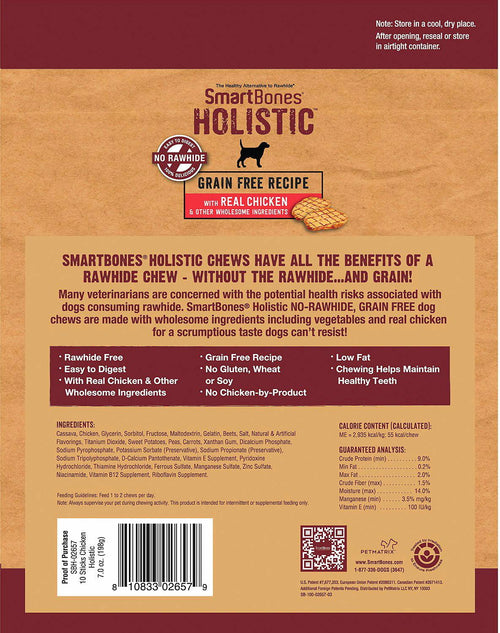 SmartBones Holistic Sticks Grain Free Dog Chews Chicken 120ct (12 x 10ct)