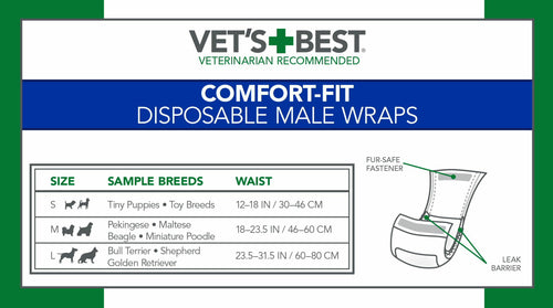Vet's Best Male Wraps for Dogs, Comfort-Fit Disposable, Large, 12 Count, 12 Pack