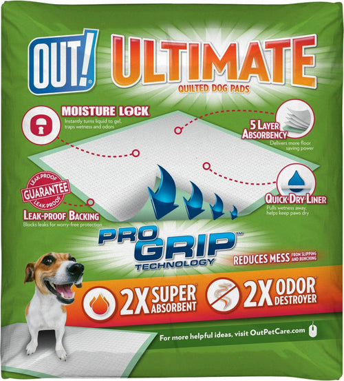 OUT! Ultimate Training Pads for Dogs, Quilted Pro-Grip, Fresh Scent, 21x21 Inch, 50 Count