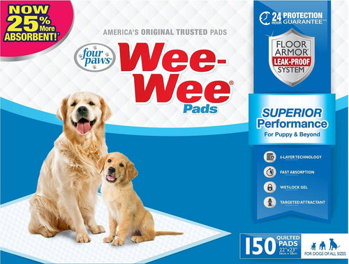 Four Paws Wee Wee Pads for Dogs, 22x23 Inch, 150 Count, 4 Pack
