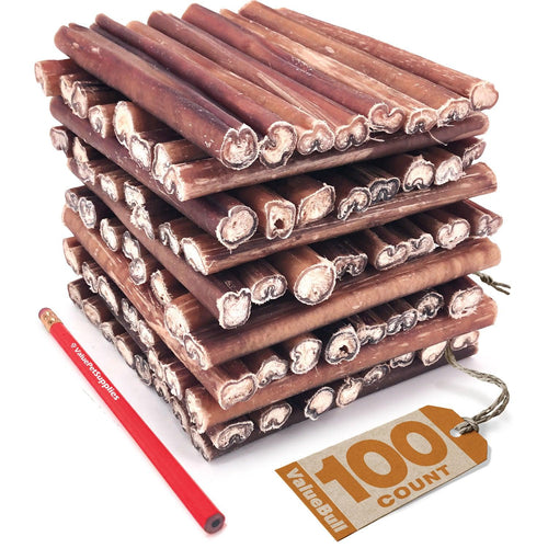ValueBull Premium Bully Sticks for Dogs, Thick 6 Inch, 100 Count