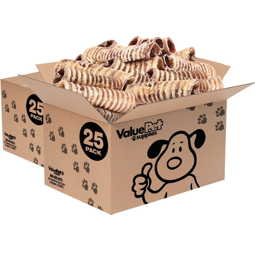 ValueBull USA Beef Trachea Dog Treats, 6 Inch, 50 Count