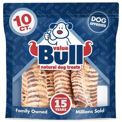 ValueBull USA Beef Trachea Dog Treats, 6 Inch, 10 Count