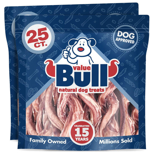 ValueBull USA Beef Pizzle Twists Dog Treats, 6 Inch, 50 Count