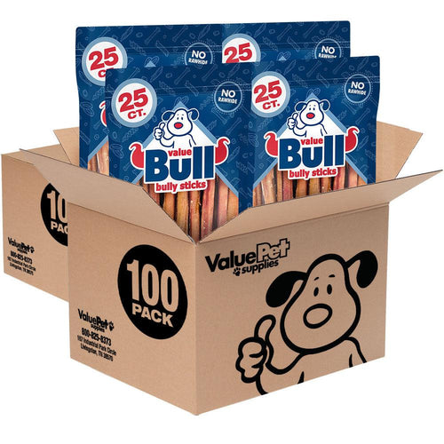ValueBull Premium Bully Sticks for Dogs, Thick 6 Inch, 200 Count