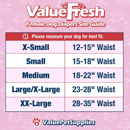 ValueFresh Disposable Diapers for Female Dogs, Small, 36 Count