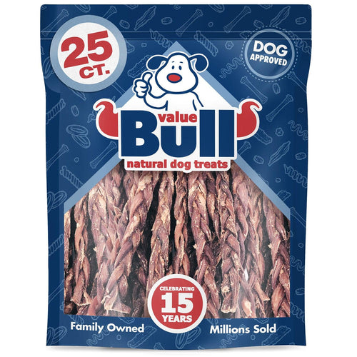 ValueBull Lamb Gullet Sticks, 10-12 Inch Thick Triple Braided, 25 Count