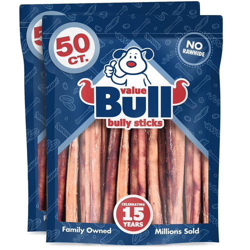 ValueBull Bully Sticks, Thick 12 Inch, Crunchy, 100 Count