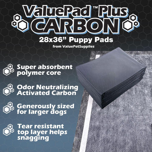 ValuePad Plus Carbon Puppy Pads, X-Large 28x36 Inch, 200 Count
