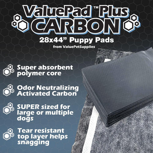 ValuePad Plus Carbon Puppy Pads, XXL Gigantic 28x44 Inch, 25 Count