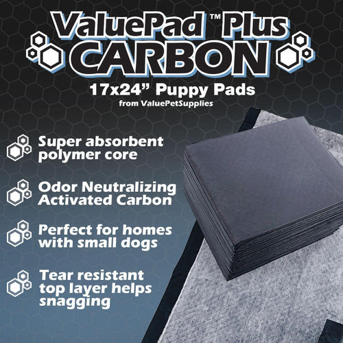 ValuePad Plus Carbon Puppy Pads, Small 17x24 Inch, 1200 Count