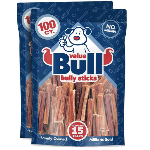 ValueBull Bully Sticks for Dogs, Medium 3-4 Inch, 200 Count