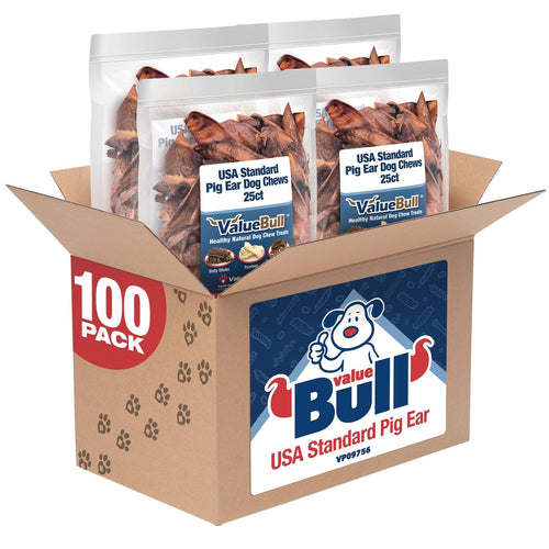 ValueBull USA Standard Pig Ears Dog Chews, 100 Count