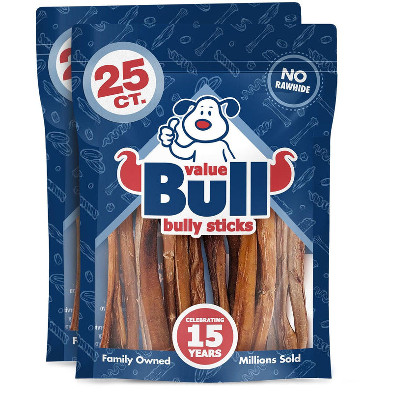 ValueBull Bully Sticks for Small Dogs, Extra Thin 5-6 Inch, Varied Shapes, 50 Count