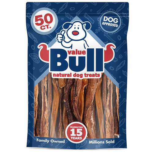 ValueBull Bully Sticks for Small Dogs, Thin 5-6 Inch, Varied Shapes, 50 Count