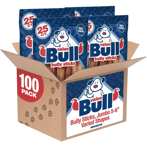 ValueBull Bully Sticks for Dogs, Jumbo 5-6 Inch, Varied Shapes, 100 Count