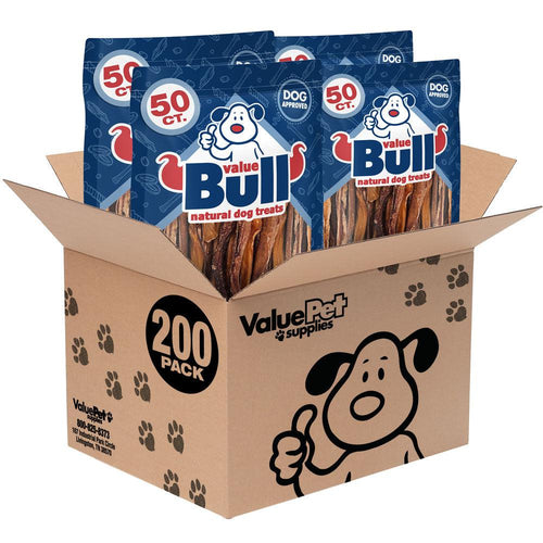 ValueBull Bully Sticks for Small Dogs, Thin 5-6 Inch, Varied Shapes, 200 Count