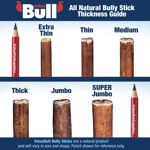 ValueBull Bully Sticks, Thick 6 Inch, Low Odor, 25 Count