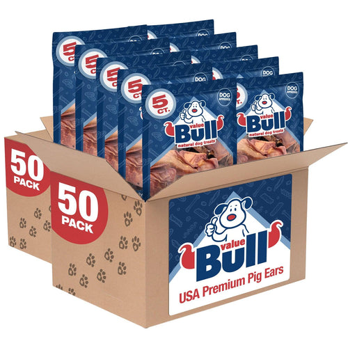 ValueBull USA Premium Pig Ears Dog Chews, 100 Count