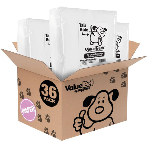 ValueFresh Disposable Diapers for Female Dogs, Large/X-Large, 36 Count