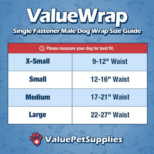 ValueWrap Disposable Male Dog Diapers, 1-Tab Small, 288 Count