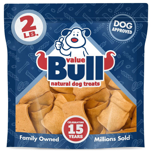 NEW- ValueBull USA Rawhide Chips for Small Dogs, 2x3 Inch, Smoked, 2 Pounds