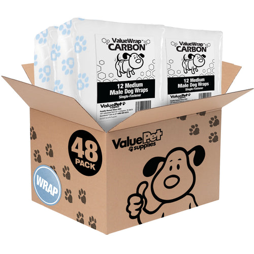 NEW- ValueWrap Carbon Disposable Male Dog Diapers, 1-Tab Medium, 48 Count