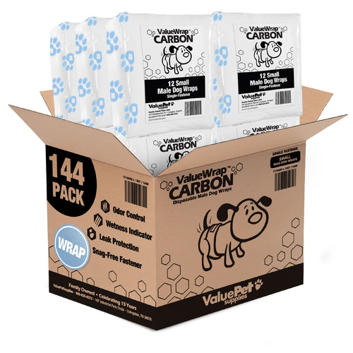 NEW- ValueWrap Carbon Disposable Male Dog Diapers, 1-Tab Small, 144 Count