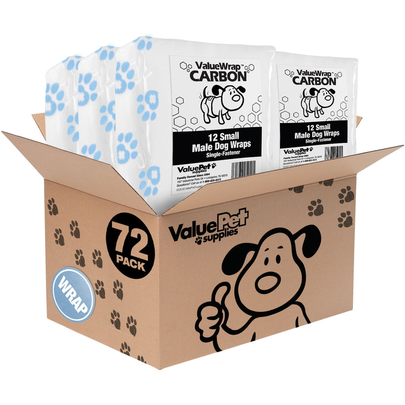 NEW- ValueWrap Carbon Disposable Male Dog Diapers, 1-Tab Small, 72 Count