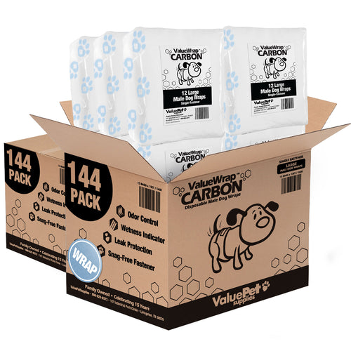 NEW- ValueWrap Carbon Disposable Male Dog Diapers, 1-Tab Large, 288 Count
