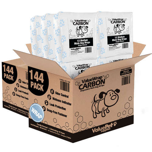 NEW- ValueWrap Carbon Disposable Male Dog Diapers, 1-Tab Medium, 288 Count