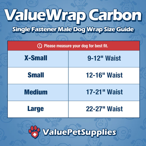 NEW- ValueWrap Carbon Disposable Male Dog Diapers, 1-Tab Medium, 24 Count