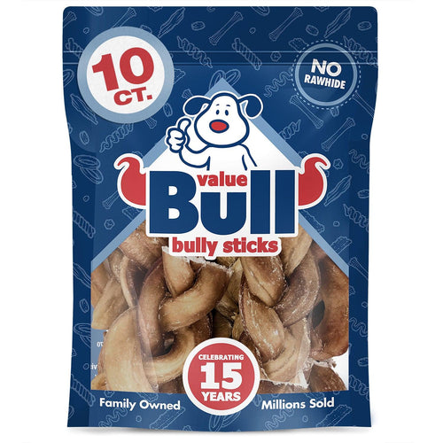 NEW- ValueBull USA Braided Bully Sticks, Thick 4 Inch, Odor Free, 10 Count