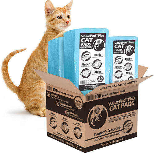 NEW- ValuePad Plus Cat Litter Pads, 16.9x11.4 Inch, Sea Fresh Scent, 100 Count - Breeze Compatible Refills