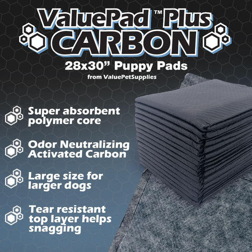 NEW- ValuePad Plus Carbon Puppy Pads, Large 28x30 Inch, 50 Count