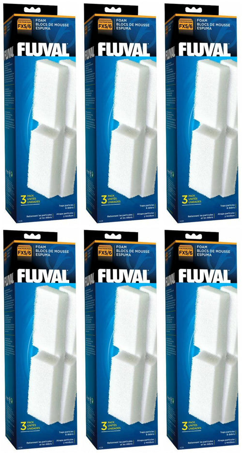 Fluval FX5 Filter Foam Block, 3 Count, 6 Pack