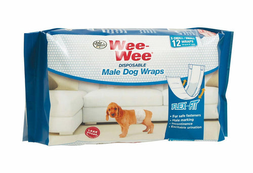 Four Paws Wee-Wee Disposable Male Dog Wraps, X-Small/Small 288ct (24 x 12ct)