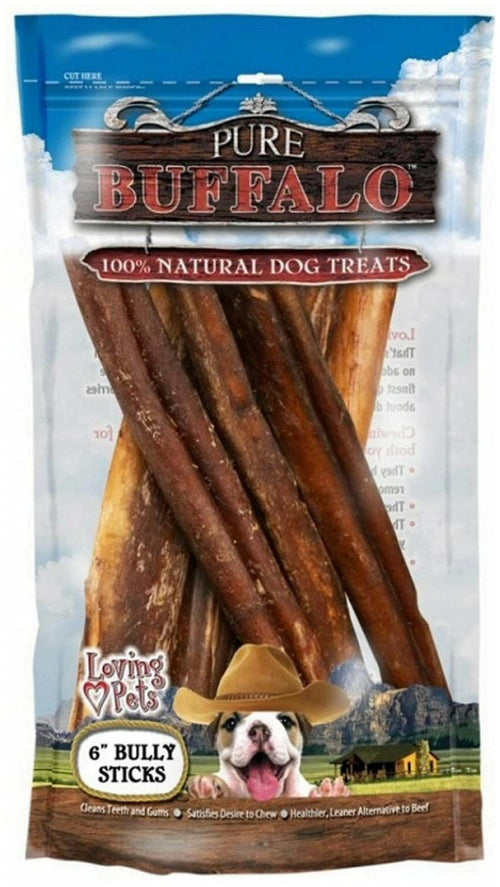 Loving Pets Pure Buffalo Bully Sticks For Dogs, 6 Inch, 6 Count