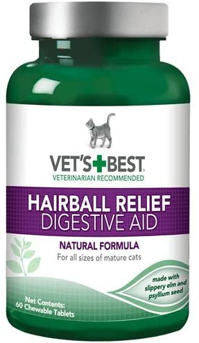 Vet's Best Hairball Relief Chewable Tablets for Cats, 60 Count