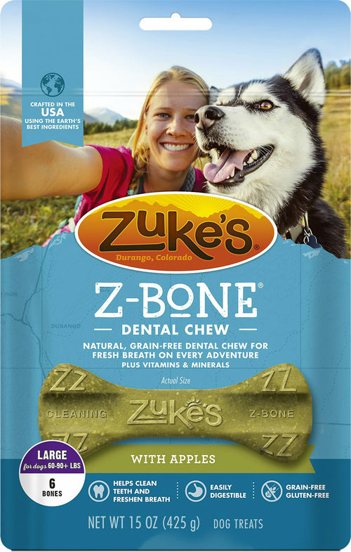 Zuke's Z-Bone Dog Dental Chew with Apples, Large, 6 Count, 4 Pack