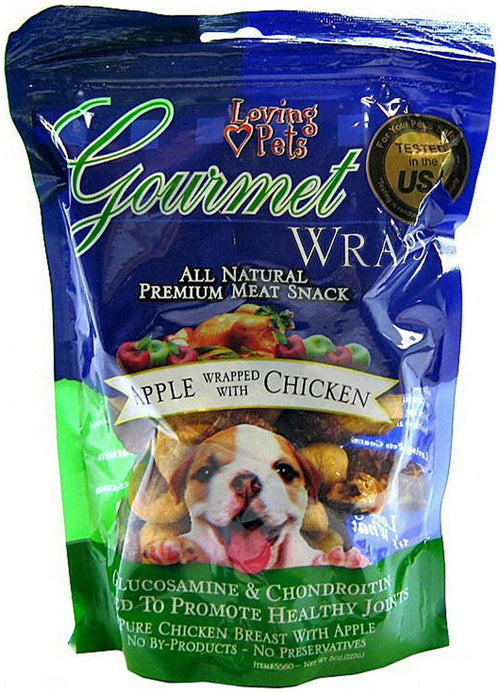 Loving Pets Gourmet Apple & Chicken Dog Treat Wrap ALL NATURAL 6 oz