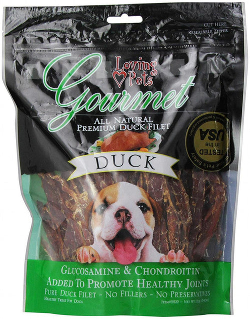 Loving Pets Duck Filet Strips Dog Chews, Gourmet All Natural Premium, 12 Ounce