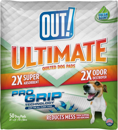 OUT! Ultimate Training Pads for Dogs, Quilted Pro-Grip, Fresh Scent, 21x21 Inch, 50 Count, 8 Pack