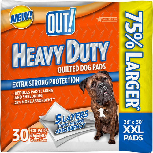 OUT! Training Pads for Dogs, Heavy Duty Quilted, XX-Large, 30 Count, 4 Pack