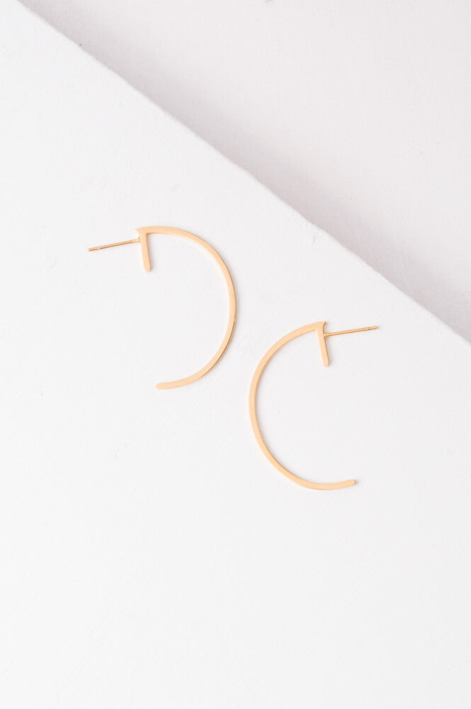 Jade Gold Half Circle Earrings